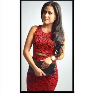 Red & Black Floral Embroidered Midi Body Con Dress